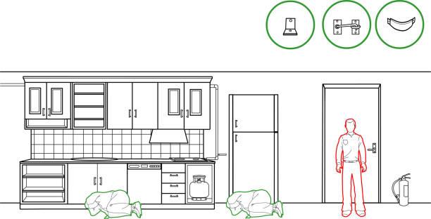 vektor-illustration von einem erdbeben schutzmethoden - küchensystem stock-grafiken, -clipart, -cartoons und -symbole