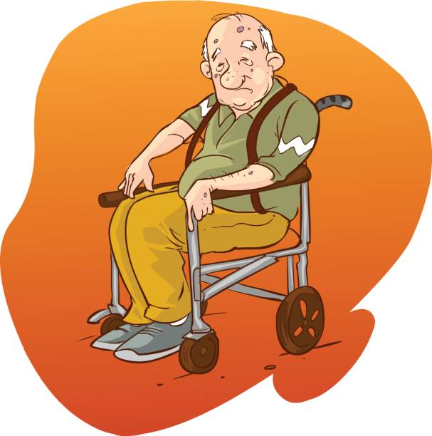 vector illustration of a elderly people in wheelchair - old man sitting chair silhouettes stock illustrations, clip art, cartoons, & icons
