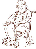 vector illustration of a Elderly people in wheelchair
