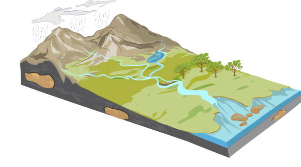 stockillustraties, clipart, cartoons en iconen met vectorillustratie van een erosie-diagram - geërodeerd