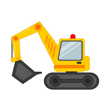 Vector illustration of a excavator in cartoon style.