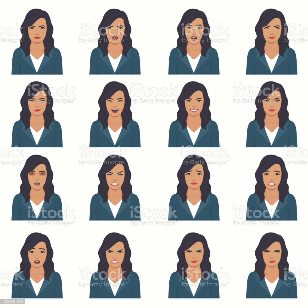 vector illustration of a face expressions vector art illustration