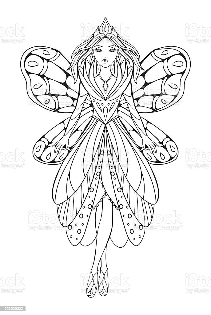 Vector Illustration Of A Fairy For An Adult Coloring Book Stock  Illustration - Download Image Now - IStock