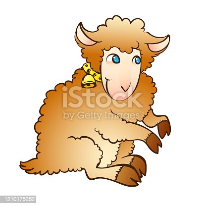istock Vector illustration of a fairy lamb with a bell on a collar 1210175252