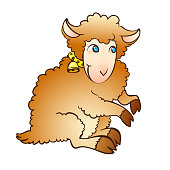 Vector illustration of a fairy lamb with a bell on a collar on a white background