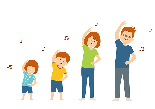 Vector illustration of a family doing exercise