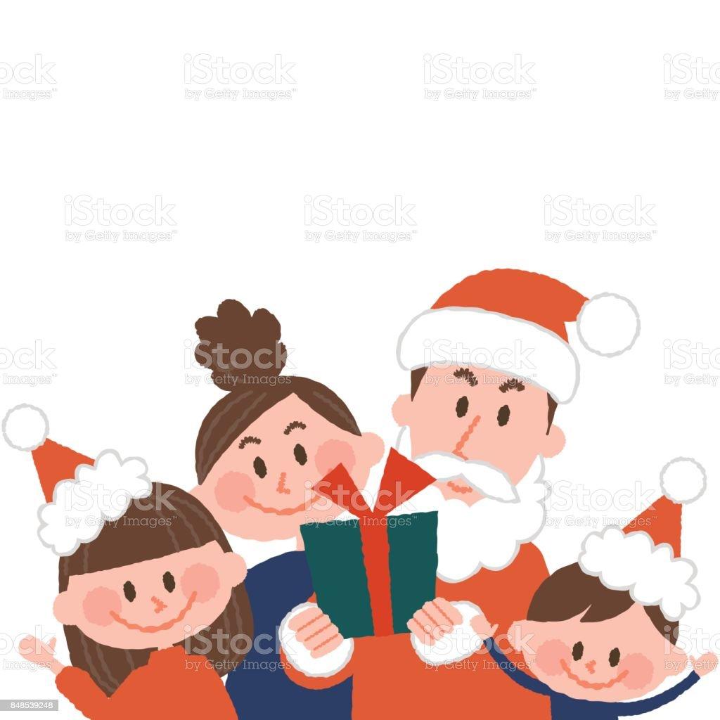 良いクリスマスを持っている家族のベクトル イラスト ベクターアートイラスト