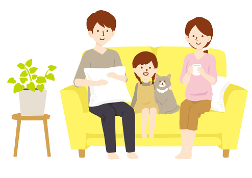Vector illustration of a family sitting on a sofa