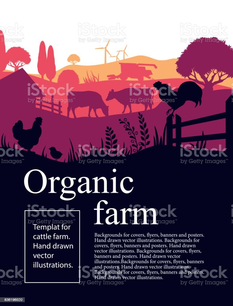 Vector illustration of a farm with silhouettes of cows, chickens and trees. Agricultural template vector art illustration