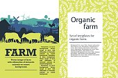 Vector illustration of a farm with silhouettes of cows, chickens and trees. Agricultural template