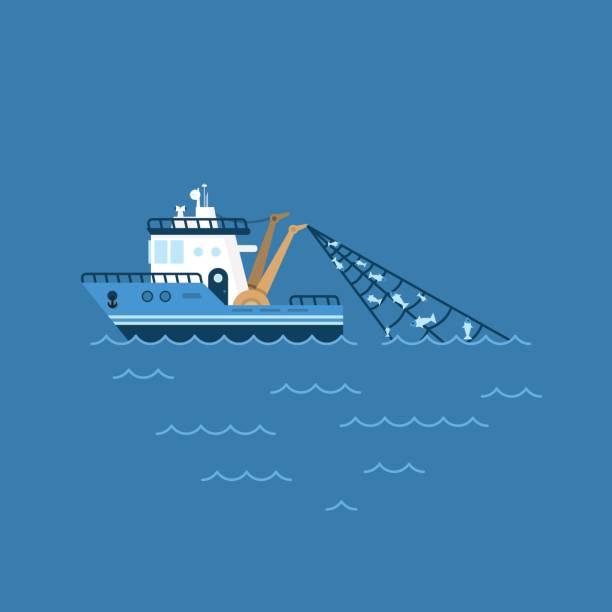 ilustracja wektorowa łodzi rybackiej, statek rybacki z połowem w sieci żagle na morzu - rybactwo stock illustrations