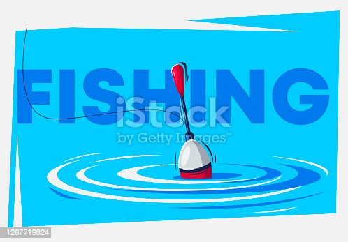 Vector illustration of a fishing float in the water, fishing