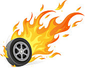 Car wheel with burning flames