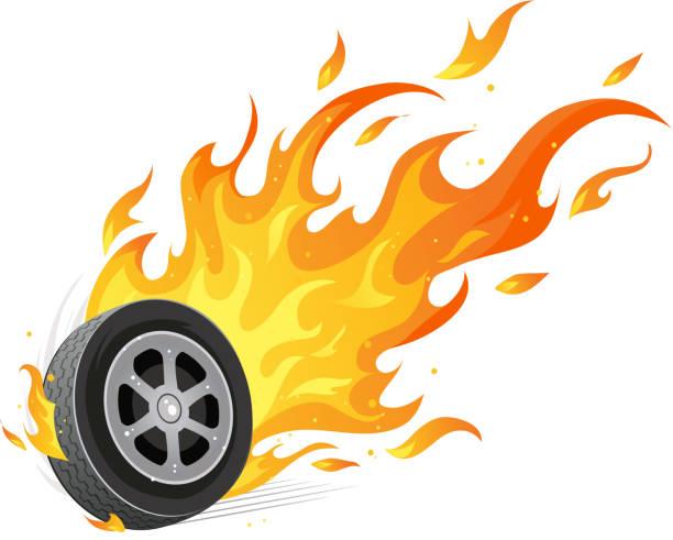 a vector illustration of a flaming wheel - 橡膠 幅插畫檔、美工圖案、卡通及圖標