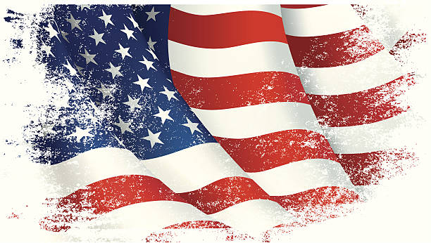 vector illustration of a flowing american flag - american flag stock illustrations