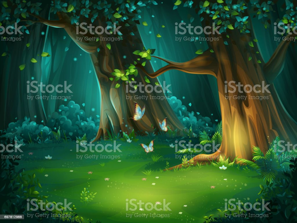 Vector illustration of a forest glade Vector cartoon illustration of background forest glade. Bright wood with butterflies. For design game, websites and mobile phones, printing. Abstract stock vector