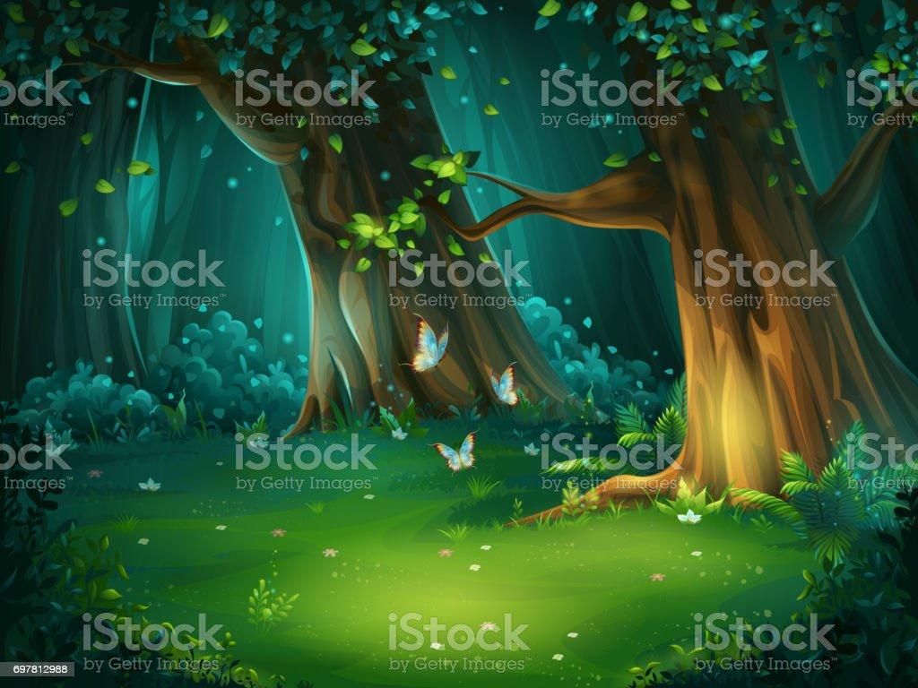 Ilustración de vector de un claro del bosque - ilustración de arte vectorial