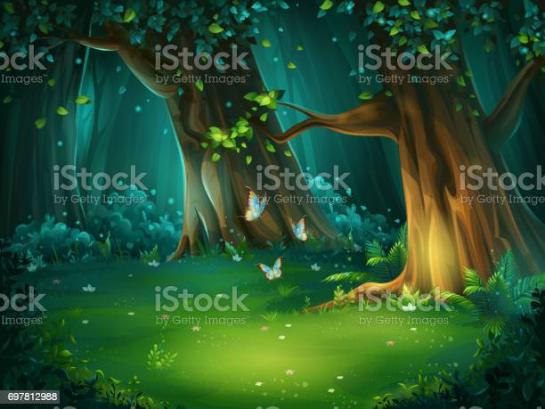 Vector Illustration Of A Forest Glade Stock Illustration - Download Image Now