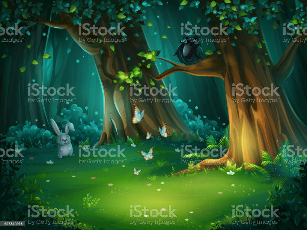 Vector illustration of a forest glade with hare and butterflies vector art illustration