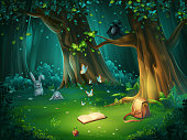 Vector illustration of a forest glade with raven and book
