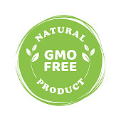 Vector illustration of a free GMO green emblem logo on a white background