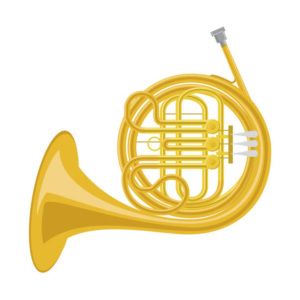 vector illustration of a french horn in cartoon style isolated on white background - waltornista stock illustrations