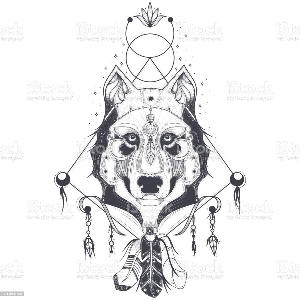 刺青の幾何学的なスケッチ、狼頭の正面図のベクトル イラスト ベクターアートイラスト