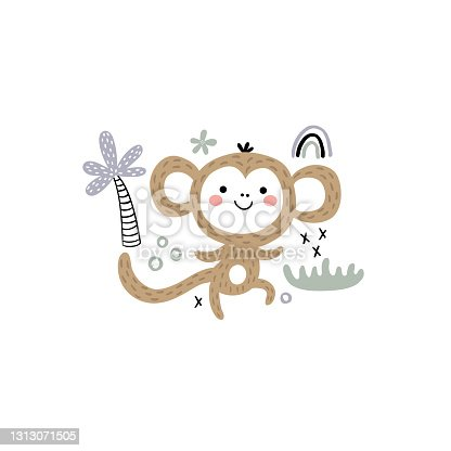 vector illustration of a funny dancing monkey