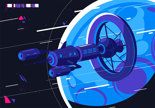 Vector illustration of a futuristic space station against the background of a planet and space, a fictional spaceship