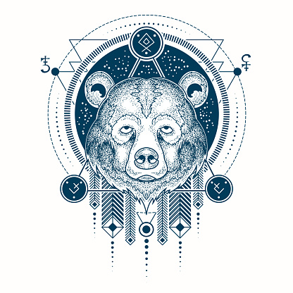 Vector illustration of a geometric tattoo front view of a bear s head
