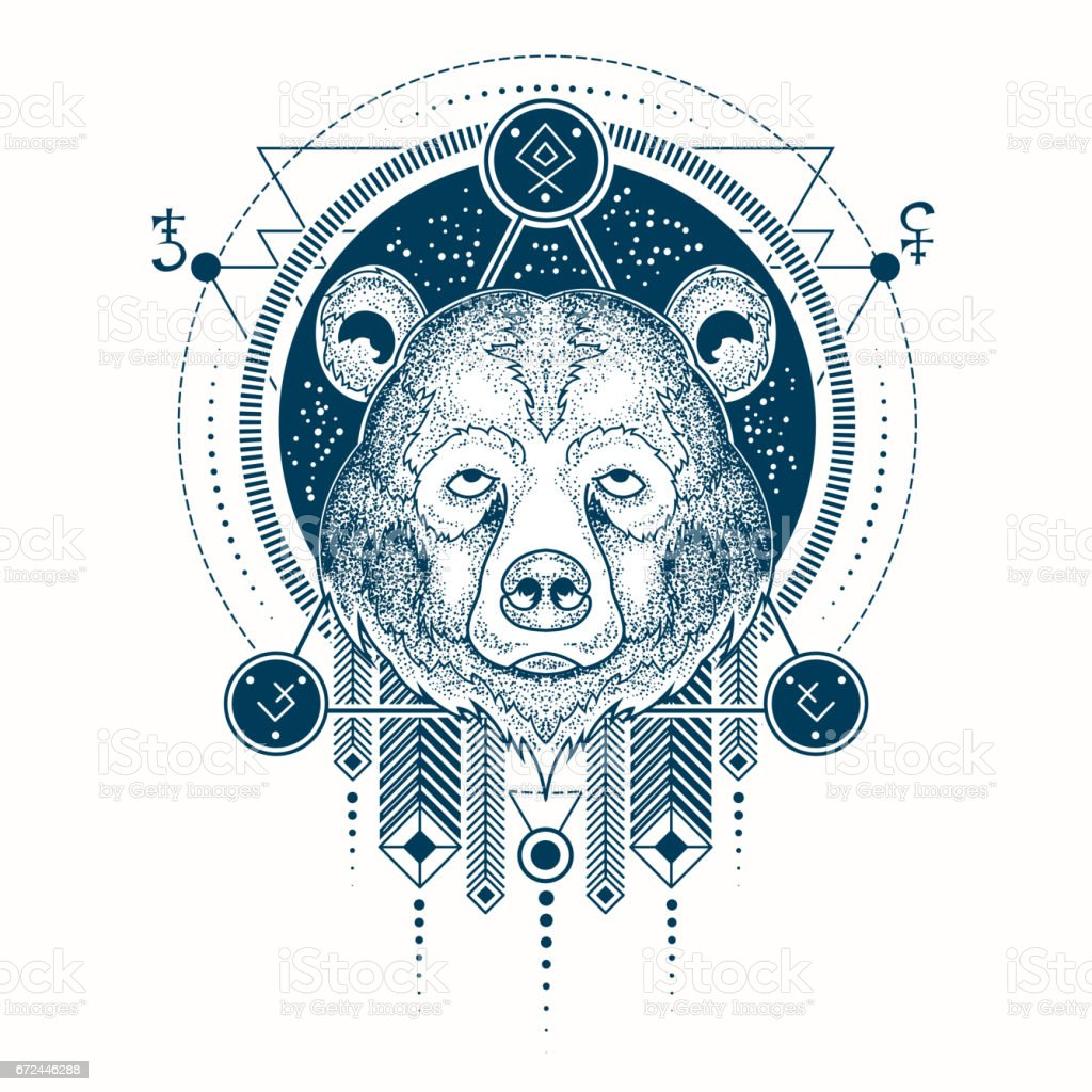 Vector illustration of a geometric tattoo front view of a bear s head vector art illustration