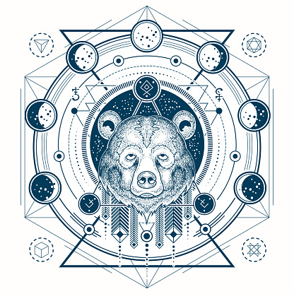 Vector illustration of a geometric tattoo front view of a bear s head and moon phases