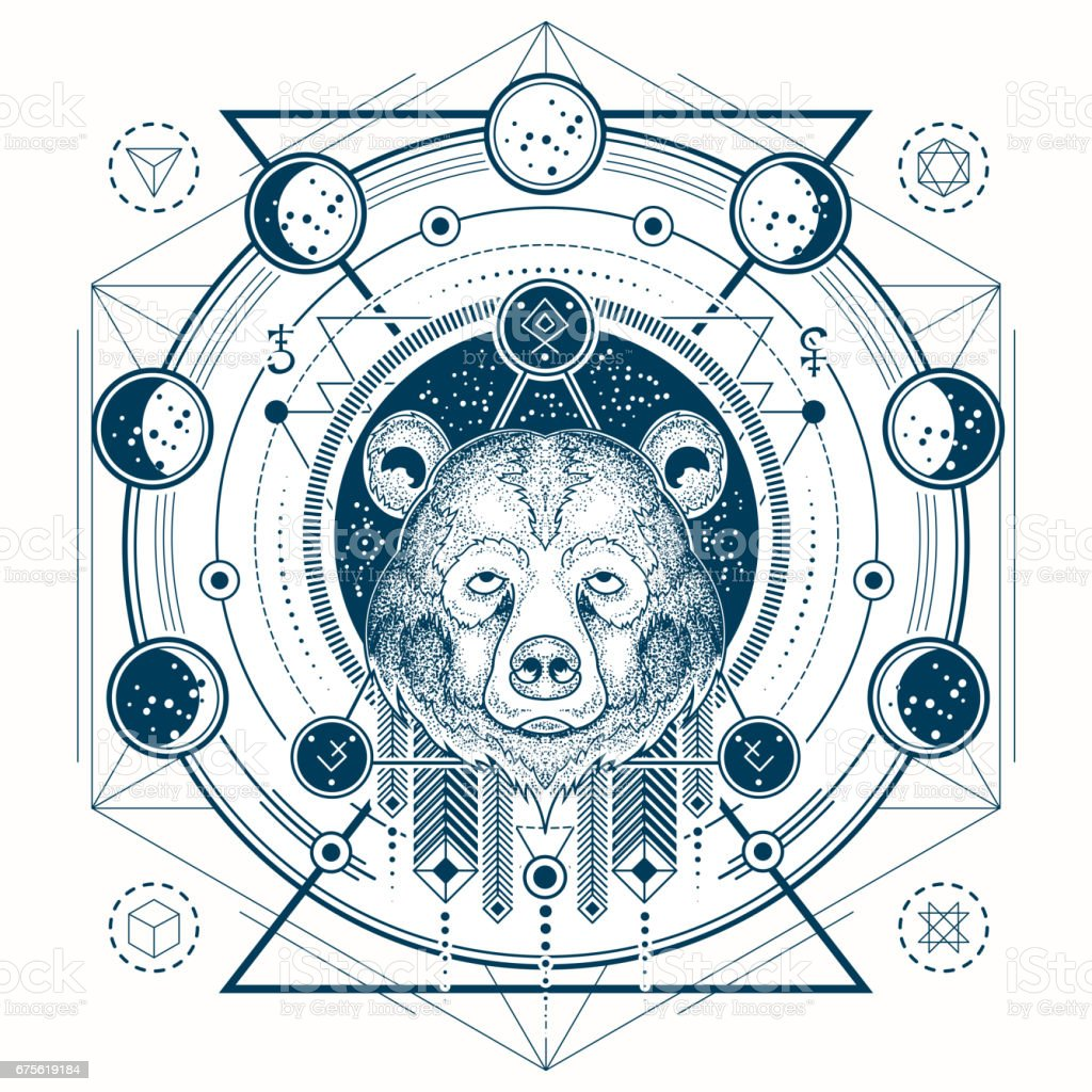 Vector ilustración de una vista frontal del tatuaje geométrico de una cabeza de oso s y fases lunares - ilustración de arte vectorial