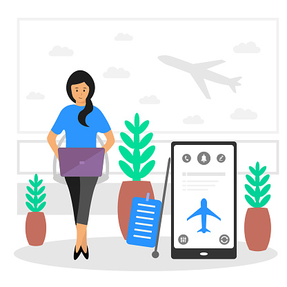 Vector illustration of a girl at the airport waiting for a plane and working on a laptop.
