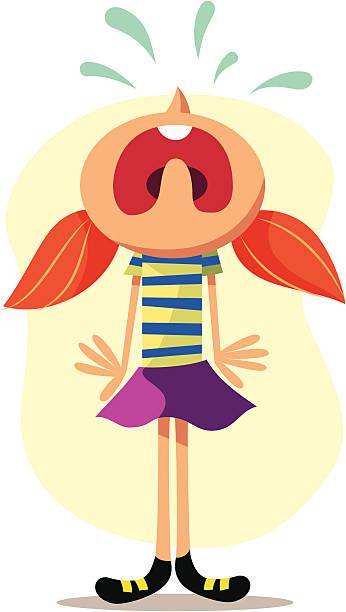 ベクターイラストレーションは女の子の頭 - 泣く点のイラスト素材/クリップアート素材/マンガ素材/アイコン素材