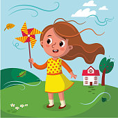 Vector illustration of a girl holding a windmill.