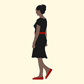 Vector illustration of a girl in a black dress, red shoes, belts and hair clips walking around the city.
