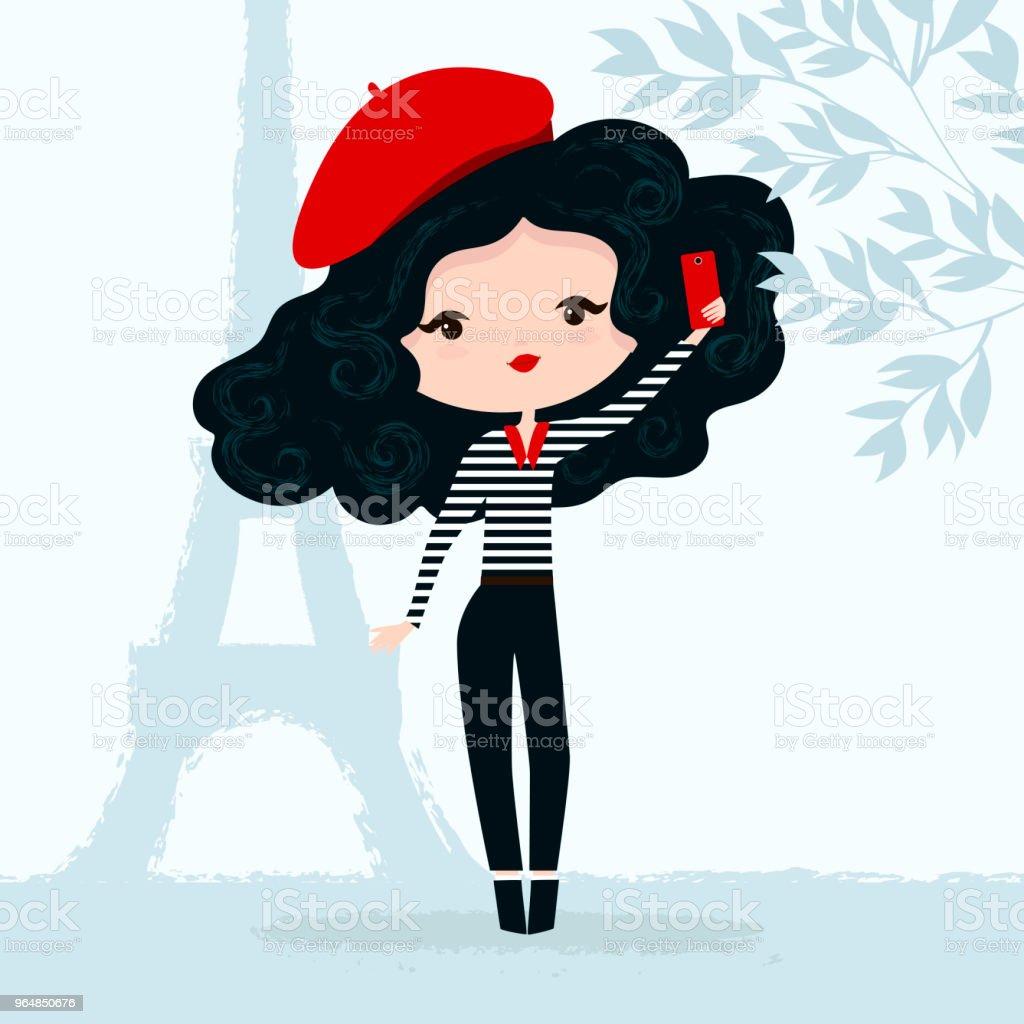 Ilustración vectorial de una niña en boina roja con smartphone en París - ilustración de arte vectorial
