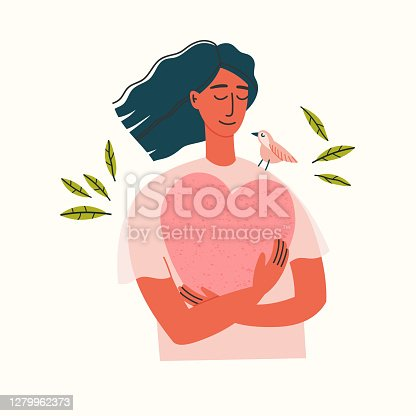 istock Vector illustration of a girl portrait. Girl in blue pants and beige blouse holding a heart. 1279962373