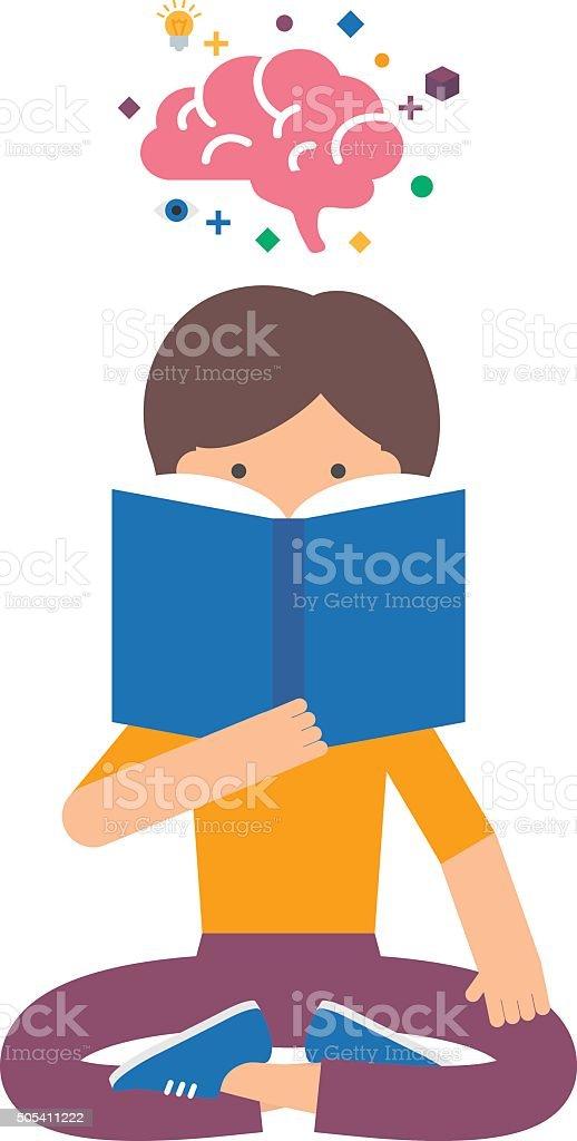 Vector illustration of a girl reading book, brain training vector art illustration