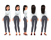 Vector illustration of a girl with long hair in casual clothes under the white background.Cartoon realistic people illustration.Flat young woman.Front, side and back views.