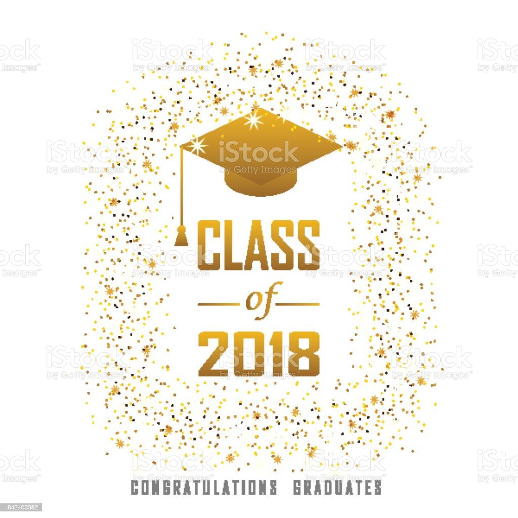 Vector Illustration Of A Graduating Class In 2018 Graphics Gold