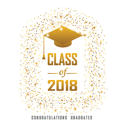 vector illustration of a graduating class in 2018 graphics gold elements