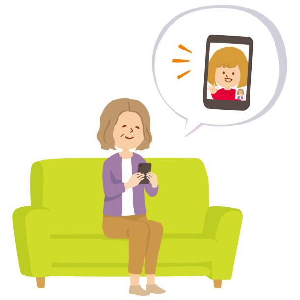 illustrazioni stock, clip art, cartoni animati e icone di tendenza di vector illustration of a grandmother talking with her grandchild - video call