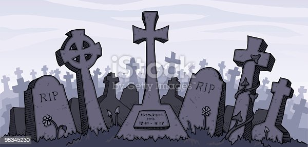 istock Vector illustration of a gray graveyard 98345230