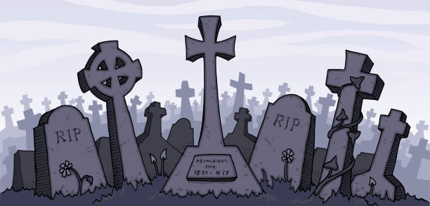 vector illustration of a gray graveyard - tombstone stock illustrations