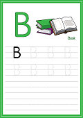 Vector illustration of a Group of books isolated on a white background. With the capital letter B for use as a teaching and learning media for children to recognize English letters Or for children to learn to write letters Used to learn at home and school.