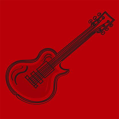 Vector illustration of a guitar in black