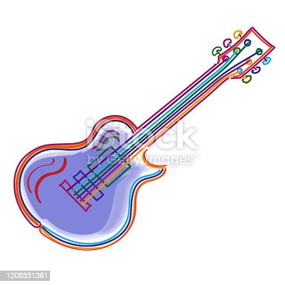 istock Vector illustration of a guitar in neon style 1208531361