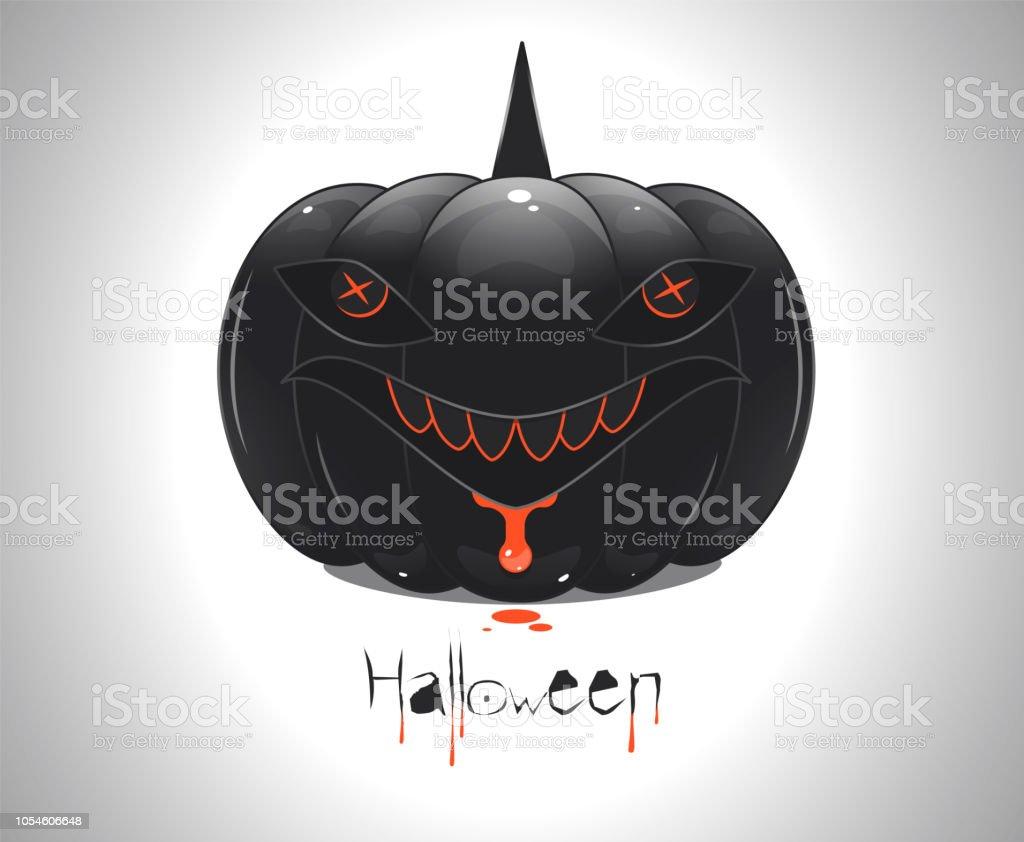 vector illustration of a halloween black pumpkin in the form of a shark vector art illustration
